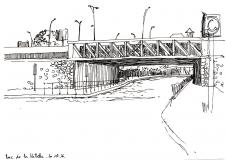 Croquis-Paris-19e-Pont-du-boulevard-Sérurier-Parc-de-la-Villette